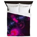 Flower Fairy Rose and Magenta Ribbons Queen Duvet