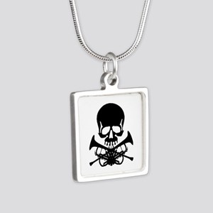 Skull with Trumpets Silver Square Necklace