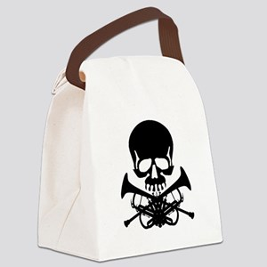 Skull with Trumpets Canvas Lunch Bag