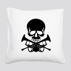 Skull with Trumpets Square Canvas Pillow