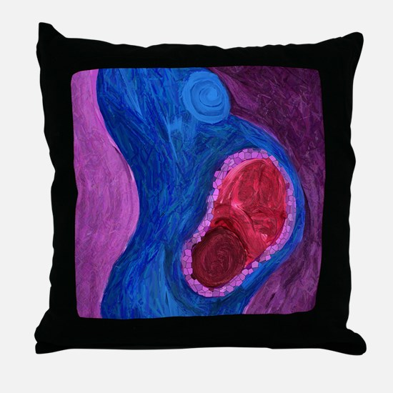 Cute Natural birth Throw Pillow