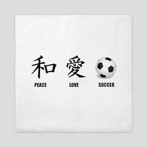 Kanji Peace Love Soccer Queen Duvet