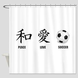 Kanji Peace Love Soccer Shower Curtain