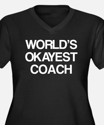 World's Okayest Coach Women's Plus Size V-Neck Dar