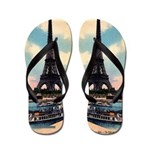 Vintage Paris Eiffel Tower Flip Flops