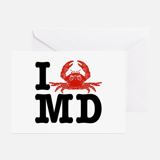 I Love MD (maryland)  Greeting Cards (Pk of 10