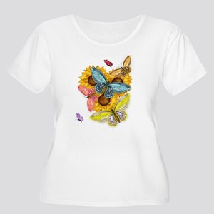 Butterfly And Sunflower Plus Scoop Neck T-Shirt