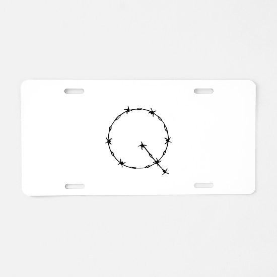 Barbed Wire Monogram Q Aluminum License Plate