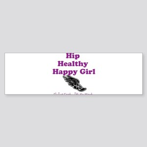 Hip Healthy Happy Girl Running Logo Bumper Sticker