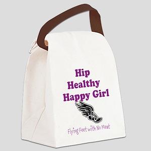 Hip Healthy Happy Girl Running Logo Canvas Lunch B