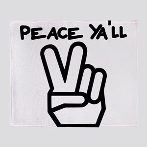 peace yall outline Throw Blanket