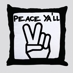 peace yall outline Throw Pillow