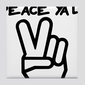 peace yall outline Tile Coaster