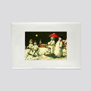 Vintage Kitsch - Snowman Family Christmas Rectangl