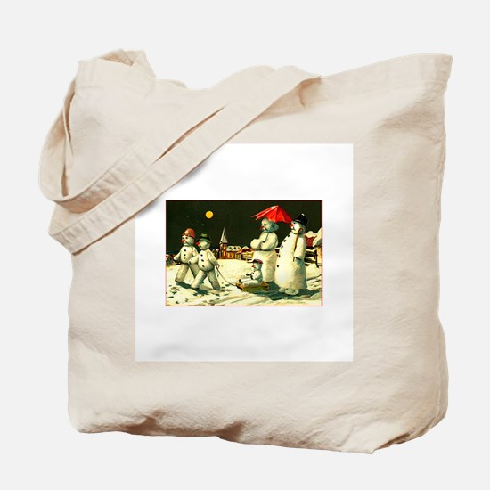 Vintage Kitsch - Snowman Family Christmas Tote Bag