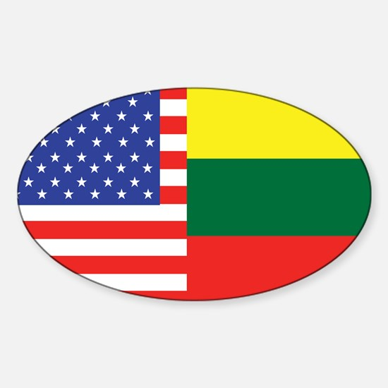 USA/Lithuania Oval Decal