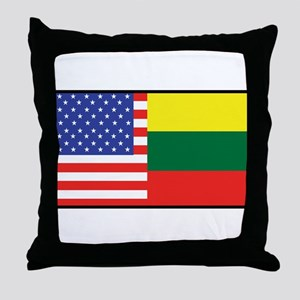 USA/Lithuania Throw Pillow