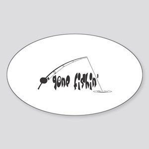 Gone Fishin' Oval Sticker
