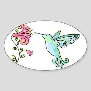 Hummingbird and Flower Rectangle Sticker