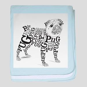 Pug Typography baby blanket