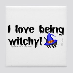 Being Witchy (text) Tile Coaster