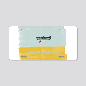 Gone Fishing Mint Watercolor Aluminum License Plat