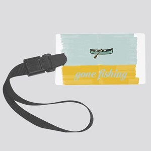 Gone Fishing Mint Watercolor Luggage Tag