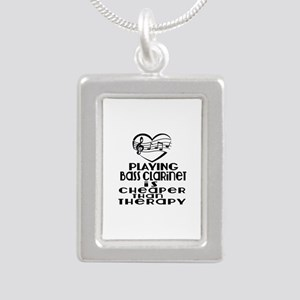 Bass Clarinet Is Cheaper Silver Portrait Necklace