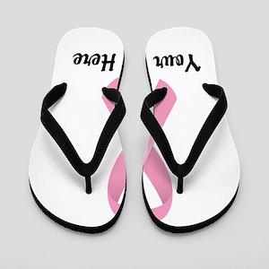 Pink Awareness Ribbon Customized Flip Flops