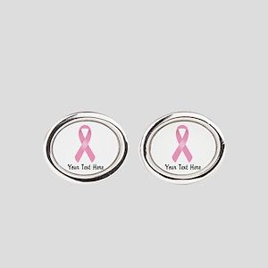 Pink Awareness Ribbon Customized Oval Cufflinks
