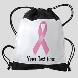 Pink Awareness Ribbon Customized Drawstring Bag