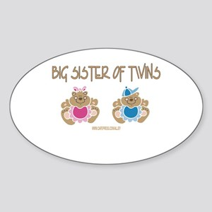 Big Sister Of Twins (boy/girl) Oval Sticker