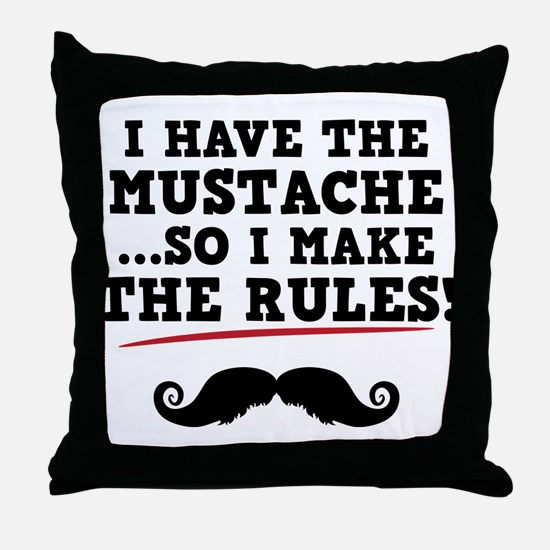 Mustache Rules Throw Pillow