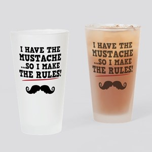 Mustache Rules Drinking Glass