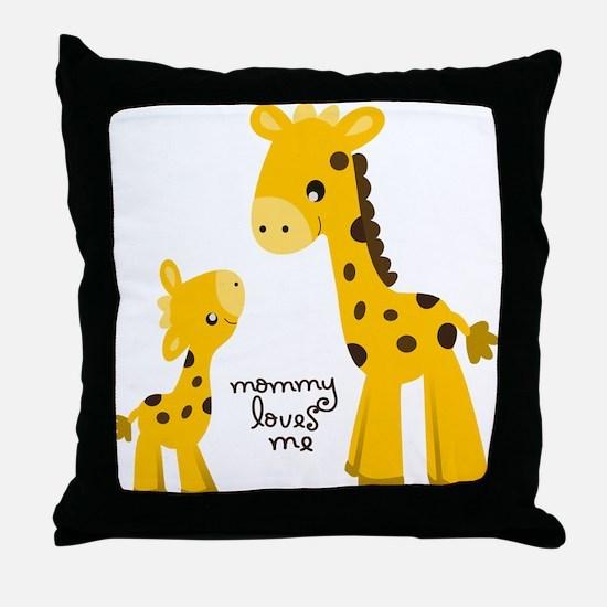 Mother and child Giraffe Throw Pillow