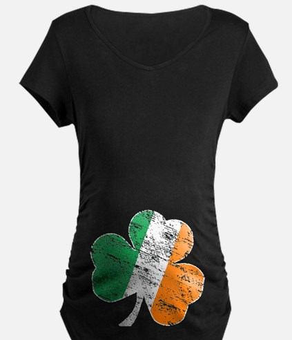 Vintage Distressed Irish Flag Shamrock Maternity T