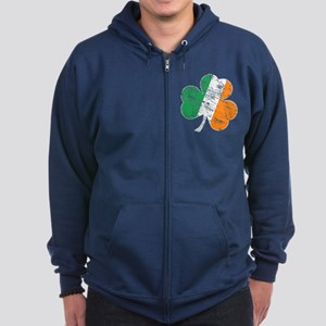 Vintage Distressed Irish Flag Shamrock Zip Hoodie