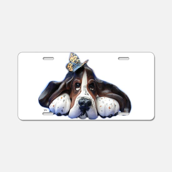 Cute Basset Aluminum License Plate