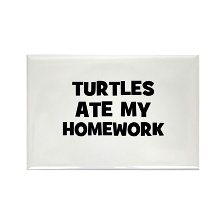 Turtles Ate My Homework Rectangle Magnet (10 pack)