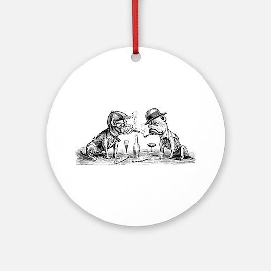 Cigar Smoking Bulldogs Ornament (Round)