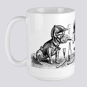 Cigar Smoking Bulldogs Large Mug