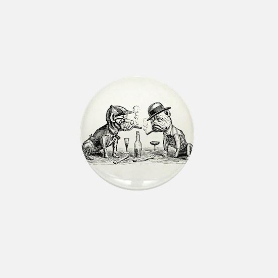 Cigar Smoking Bulldogs Mini Button