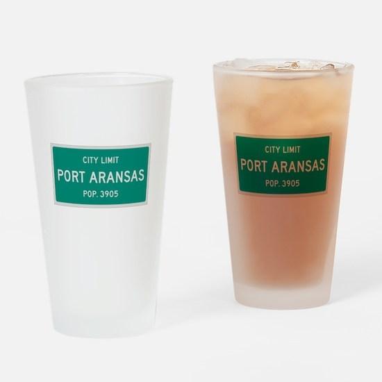 Port Aransas, Texas City Limits Drinking Glass