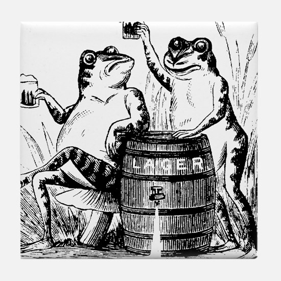 Beer Drinking Frogs Tile Coaster