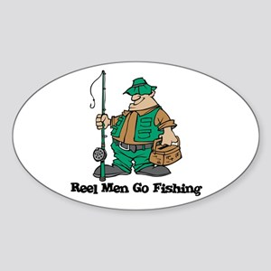 Reel Men Go Fishing Oval Sticker