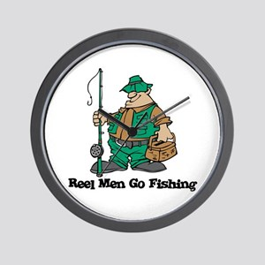 Reel Men Go Fishing Wall Clock