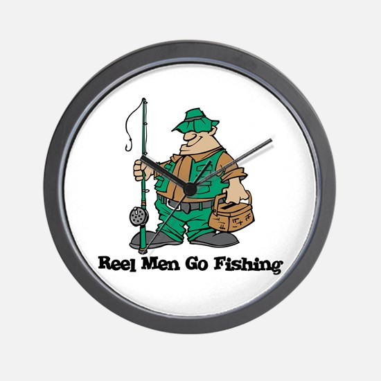 Reel Men Go Fishing Wall Clock