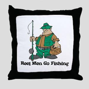Reel Men Go Fishing Throw Pillow