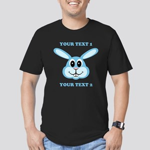 PERSONALIZE Blue Bunny Men's Fitted T-Shirt (dark)