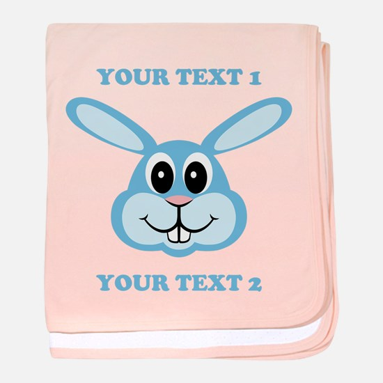 PERSONALIZE Blue Bunny baby blanket